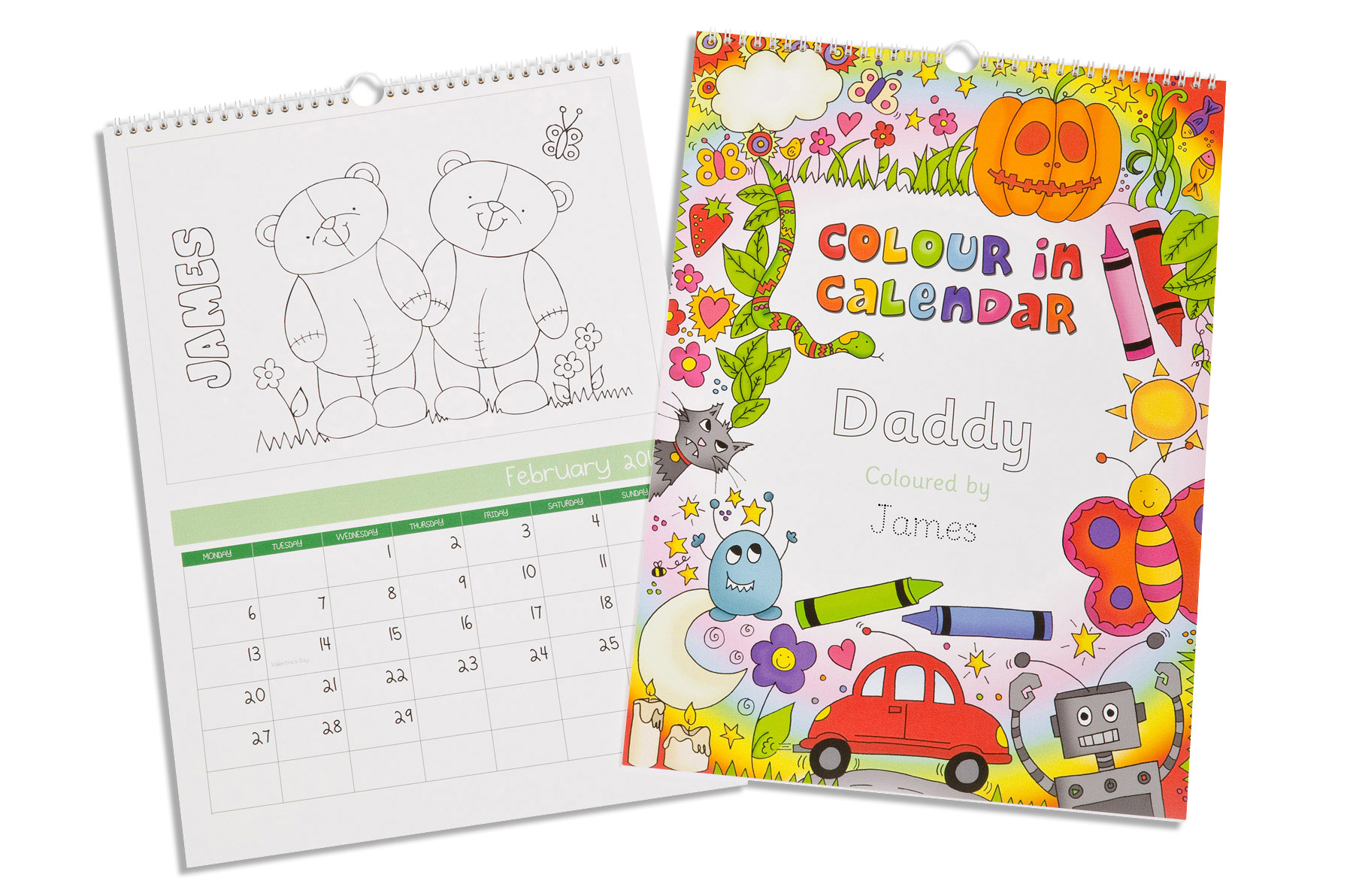 Colour Me In Calendar Personalised - Fudge Kids UK