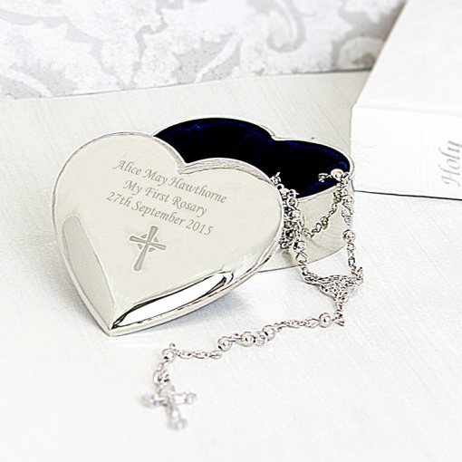 Personalised Rosary Heart Trinket Box