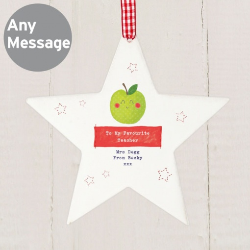 Personalised Happy Apple Star Decoration