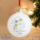 Personalised The Snowman and the Snowdog 1st Christmas Bauble
